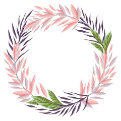 Wreath with marine plants, leaves and seaweed. Hand drawn marine flora in watercolor style. Vector illustration