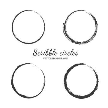 Set of vector hand drawn circles in sketch drawing scribble style. Doodle circular logo elements.