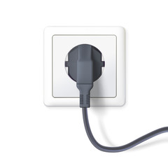 The black plug is plugged into the power lines. Plug inserted in a white wall socket. Icon of device for connecting electrical equipment. 3D illustration isolated on white background.