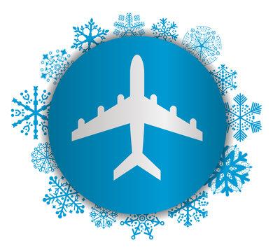 airplane christmas icon