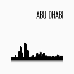 Abu Dhabi City skyline black silhouette modern typographic design.  Architecture of United Arab Emirates. UAE capital panorama landmark. Vector illustration