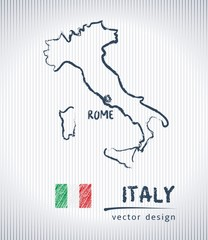 Italy sketch chalk drawing map isolated on a white background