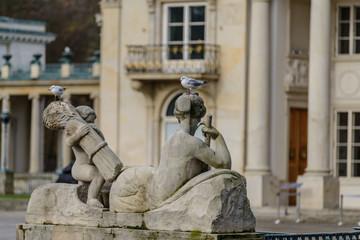 Allegory of the Vistula river statue in Lazienki Park, Warsaw