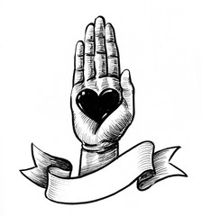 Ink drawing of a hand and heart