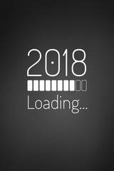 Year 2018 loading bar card or phone wallpaper
