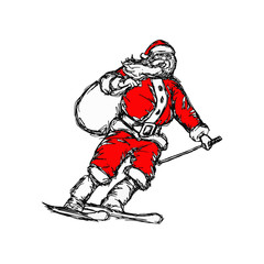 Santa Claus goes skiing vector illustration sketch hand drawn with black lines, isolated on white background