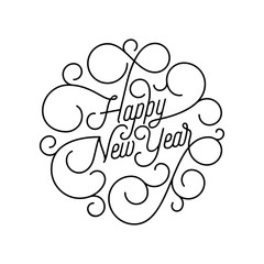 Happy New Year flourish calligraphy lettering of swash line typography for greeting card design. Vector festive ornamental quote New Year text of swirl pattern outline for holiday on white background