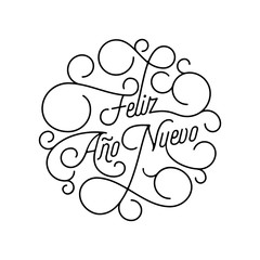 Happy New Year Feliz Ano Nuevo flourish calligraphy lettering of swash line typography for Spanish greeting card design. Vector festive ornamental New Year text quote of black swirl pattern outline