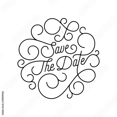 Save The Date Flourish Calligraphy Lettering Of Swash Line