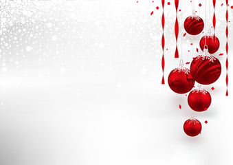 Christmas Background with Red Baubles - Festive Illustration with Snowy Background, Vector