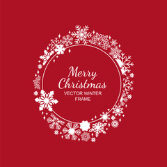 White circle snowflake frame isolated on red background, Christmas design. Vector illustration, merry xmas snow flake framework