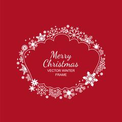 White snowflake frame, festive decoration on red background, Christmas design for invitation, greeting card or postcard. Vector illustration, merry xmas snow flake framework