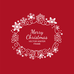 White snowflake frame, festive decoration on red background, Christmas design for invitation, greeting card or postcard. Vector illustration, merry xmas flake framework