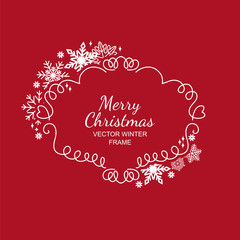 White snowflake frame, decoration on red background, Christmas design for invitation, greeting card or postcard. Vector illustration, merry xmas snow flake framework