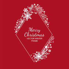 White rhombus snowflake frame, decoration on red background, Christmas design for greeting card or postcard. Vector illustration, merry xmas snow flake framework