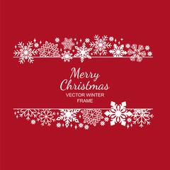 White snowflake frame, decoration on red background, Christmas design for invitation card or postcard. Vector illustration, merry xmas snow flake framework