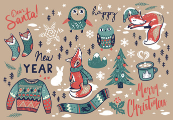 Merry Christmas hand drawn elements in cartoon style. Vector illustration