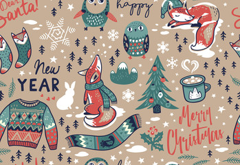 Merry Christmas seamless pattern with lovely elements. Vector illustration