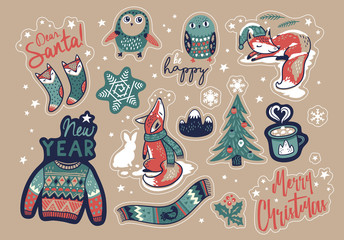 Vector set of cartoon stickers, patches or pins for Christmas