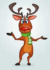 Happy cartoon Christmas Reindeer pointing hand. Vector illustration of Christmas character
