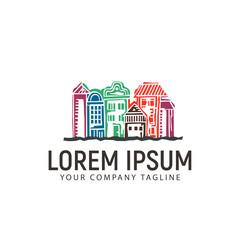 hand drawn urban town logo design concept template