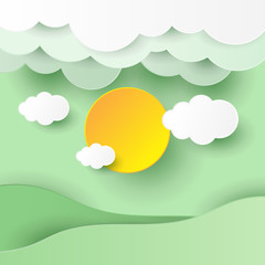 illustration of nature landscape with cloud design by paper art and craft style