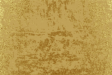 Gold grunge texture to create distressed effect. Patina scratch golden elements. Vintage abstract illustration.