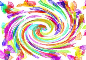 herbstlich verfärbtes Laub im Wirbelwind