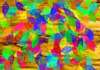 herbstlich verfärbtes Laub fällt auf den Boden