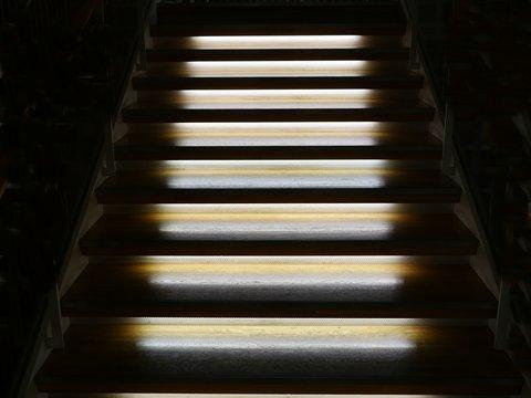 Illuminated wooden staircase