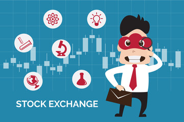 Illustration flat design of business man finding stock exchange on candlestick background