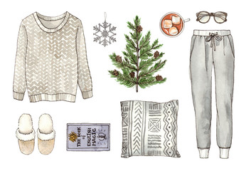 watercolor hand drawing sketch fashion outfit, a set of clothes and accessories. home style. isolated elements