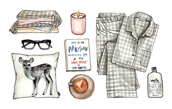 home sweet cozy look. watercolor hand drawn sketch fashion outfit, a set of clothes and accessories. isolated elements