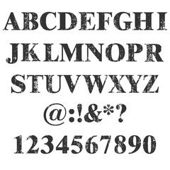 Vector stamp all Letters and numbers. Grunge texture. Vintage elements. Vector illustration. Dirty Letter Font. Distress alphabet. Hipster design number .