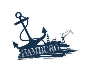 Anchor, lighthouse, ship and crane icons on brush stroke. Calligraphy inscription. Hamburg city name text