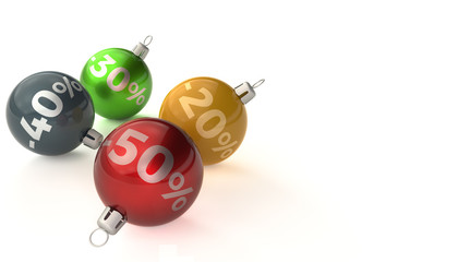 Christmas balls with percent on them, on a white background, 3d rendering, sale -20, -30, -40, -50 percent