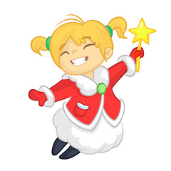 Cute cartoon Christmas girl angel character flying and holding star. Vector illustration of happy winter blond fairy outlined
