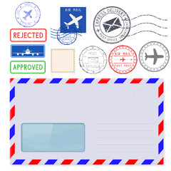 Envelope with address window and postal elements