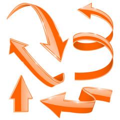 Arrows. Set of orange shiny icons