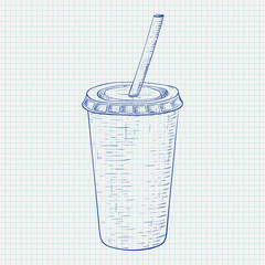 Disposable cup with drinking straw. Blue hand drawn sketch on lined paper