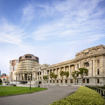 Wellington The Beehive and Parliament House New Zealand