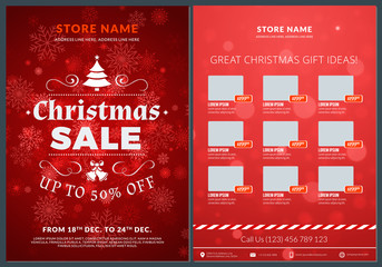 Christmas sale catalog design. Business flyer template. Vintage badge with red background