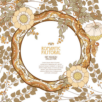 Poster, background with space for text and decorative flowers in art nouveau style, vintage, old, retro style. Stock vector illustration.