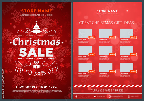 Christmas Sale Catalog Design Business Flyer Template Vintage Badge With Red Background