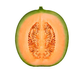half cut of japanese melons, orange melon or cantaloupe melon with seeds isolated on white background
