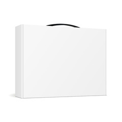 Box with handle for laptop - half side view. Mockup for your design and logo. Vector illustration