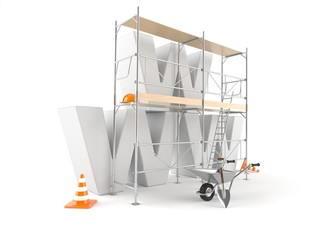 WWW letters with scaffolding