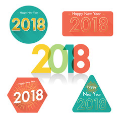 Set of happy new year 2018 badges on white background.