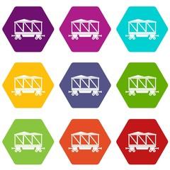 Railway wagon icon set color hexahedron