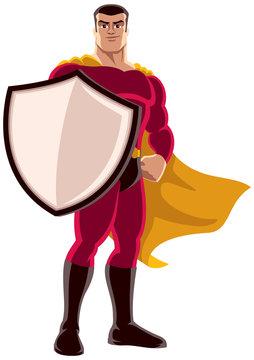 Superhero Holding Shield / Illustration of superhero holding big shield on white background.